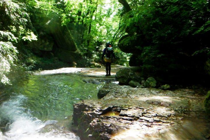 Canyoning Grenoble, marche dans le furon du bas